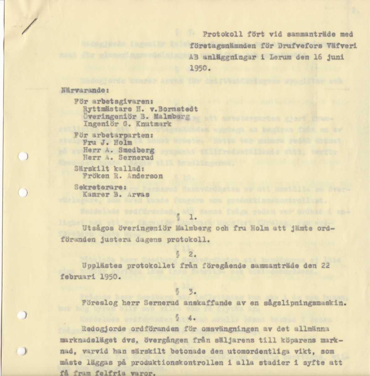 BILD 1. BILDTEXT, Protokoll från företagsnämnden vid Drufvefors anläggning i Hedefors, 16 juni 1950.tif