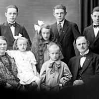 Familjen Karl Grönlund, fru Anna född Magnusson med sina barn, två döttrar och fyra söner. Tre av sönerna följde farfar och fars fotspår inom plåtslageriyrket.
