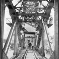 Järnvägsbron över trafikkanalen Lilla Vassbotten Vänersborg år 1916.